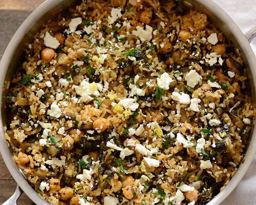 Spinach and Chickpea Rice Pilaf